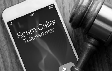 Spam Caller Calling Phone with Gavel